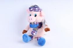 Игрушка мягкая Поросёнок в синей шапке  Д-19551/17