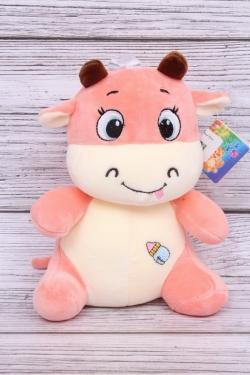 Игрушка мягкая (С) - Бык розовый 25см 6202