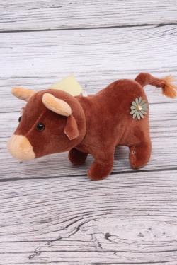 Игрушка мягкая (С) - Корова с цветочками коричневая 11см  7013
