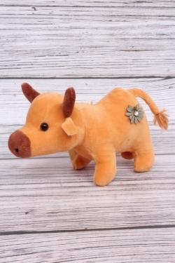 Игрушка мягкая (С) - Корова с цветочками рыжая 11см  7013
