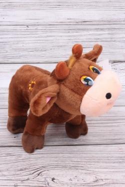 Игрушка мягкая (С) - Корова с Подсолнухом поющая коричневая 21см  6658