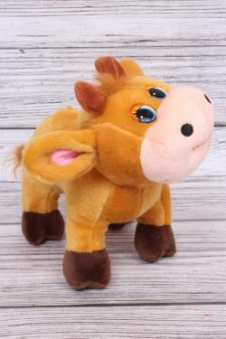 Игрушка мягкая (С) - Корова с Подсолнухом поющая рыжая 21см  6658