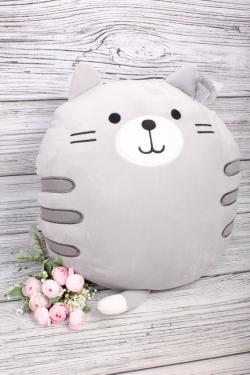 Игрушка мягкая (С) - Кот круглый серый   182381-М