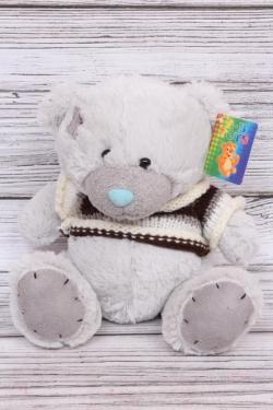 Игрушка мягкая (С) - Мишка в свитере серый 20см М704-20