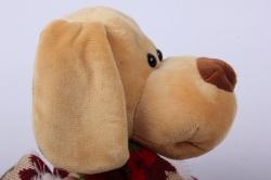 игрушка мягкая собака большая 21см в валенках музыкальная ма-18601/21 h=27см