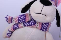 игрушка мягкая собака в светлой шапке 20 см ма-18695 h=37см