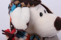 игрушка мягкая собака в тёмной шапке 20 см ма-18666/18