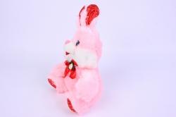 игрушка мягкая заяц розовый  15528-ма  зоо