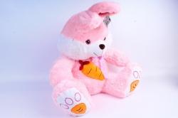 Игрушка мягкая Заяц с морковкой розовый  М-4258/50