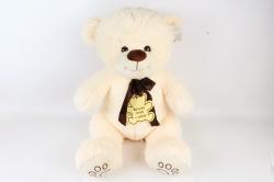 Игрушка мягкая-Медведь с медалью кремовый    Д-3922/60