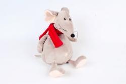 Игрушка мягкая-Мышь с красным шарфом бежевая   Д-2162/28