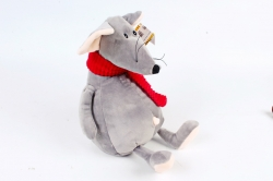 Игрушка мягкая-Мышь с красным шарфом серая   Д-2162/28