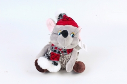 Игрушка мягкая-Мышь в шапке музыкальная  Д-20494/16