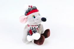 Игрушка мягкая-Мышь в шапке музыкальная    Д-20495/25