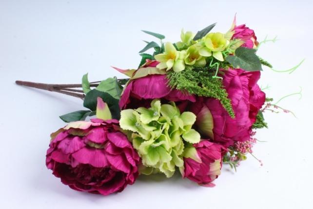Искусственное растение - Букет Гортензия,пион бордо/салатовый LIU231