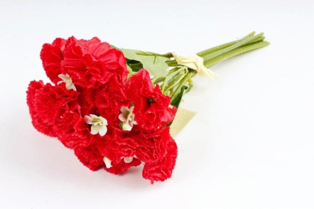 Искусственное растение - Букет гвоздички с гипсофилой  красные