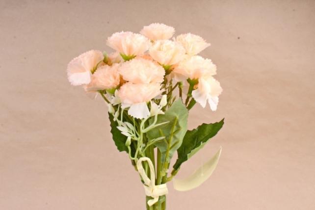 Искусственное растение - Букет гвоздички с гипсофилой  персиковые