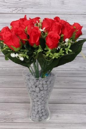 Искусственное растение - Букет из 18 роз 40 см красный