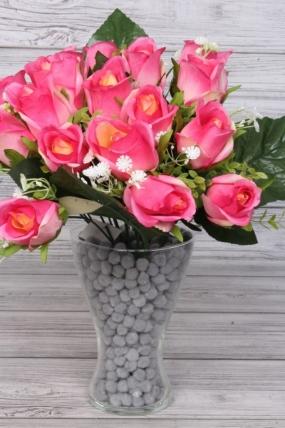 Искусственное растение - Букет из 18 роз 40 см ярко-розовый