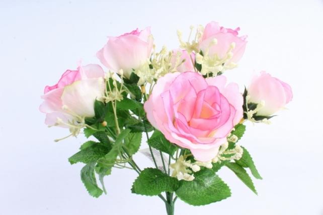 Искусственное растение - Букет роз бело-розовый