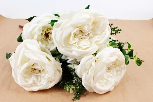 Искусственное растение - Букет роза-гортензия белый  LIU155