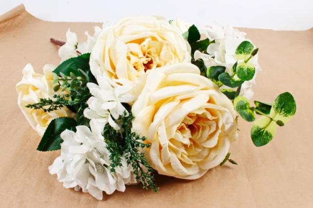 Искусственное растение - Букет роза-гортензия кремовый LIU155