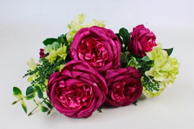 Искусственное растение - Букет роза-гортензия малиновый LIU155