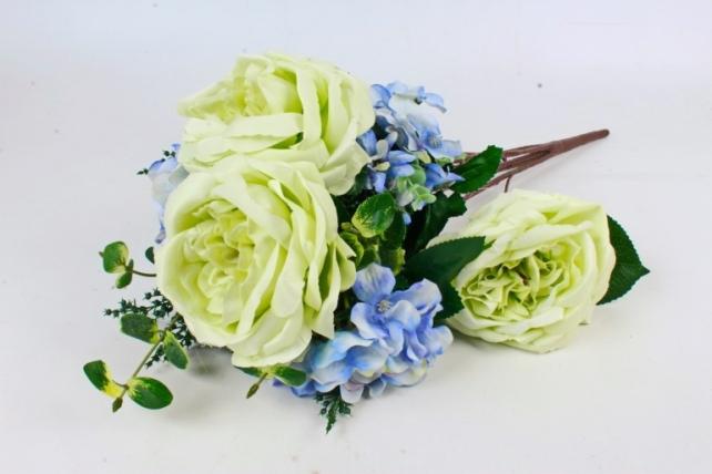 Искусственное растение - Букет роза-гортензия салатовый  LIU155