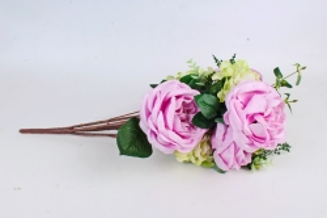 Искусственное растение - Букет роза-гортензия сиреневый  LIU155