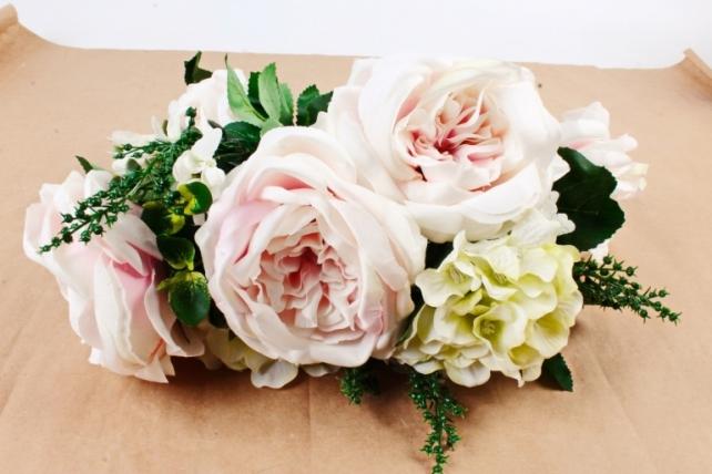 Искусственное растение - Букет роза-гортензия светло-розовый  LIU155