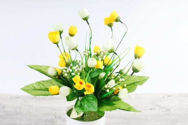 Искусственное растение - Бутончики весенние с росянкой бело/жёлтые