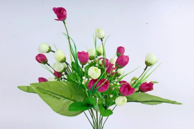 Искусственное растение - Бутончики весенние с росянкой бело/малиновые