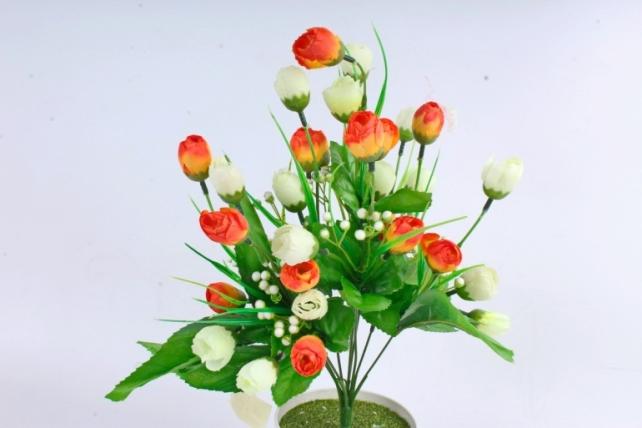 Искусственное растение - Бутончики весенние с росянкой бело/оранжевые