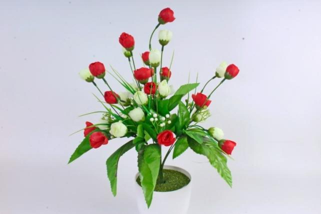 Искусственное растение - Бутончики весенние с росянкой красно/белые