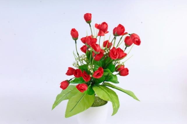 Искусственное растение - Бутончики весенние с росянкой красные