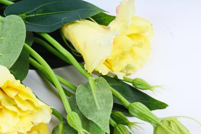 Искусственное растение - Цветок Эустомы (3 шт в уп) Лимонный  SUN357