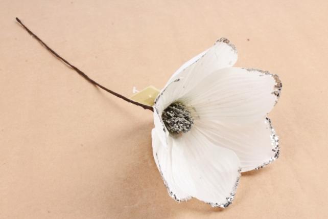 Искусственное растение - Цветок Магнолии белый с серебром