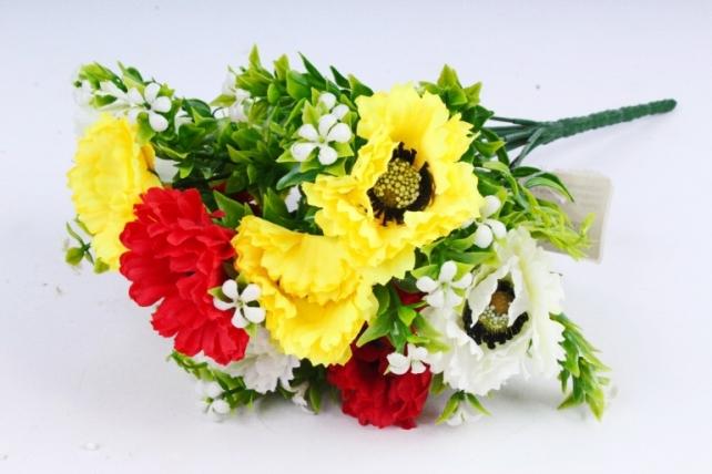 Искусственное растение - Гацания с гипсофилой жёлто-красная