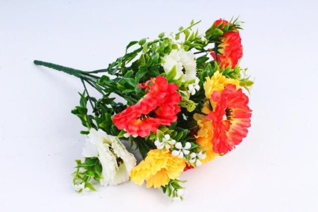 Искусственное растение - Гацания с гипсофилой оранжево-жёлтая