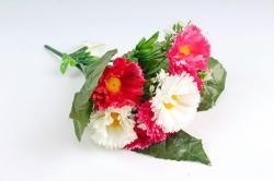 Искусственное растение - Гацания в листьях гортензии бело-малиновая