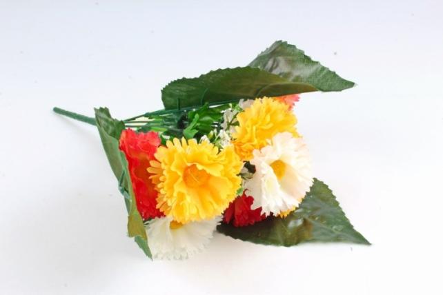 Искусственное растение - Гацания в листьях гортензии оранжево-жёлтая