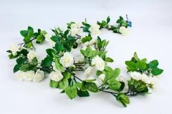 Искусственное растение - Гирлянда с розами 2 м белая
