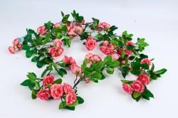 Искусственное растение - Гирлянда с розами 2 м коралловая