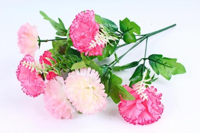 Искусственное растение - Гвоздика с папоротником бело-розовая