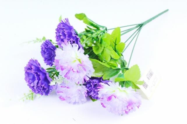 Искусственное растение - Гвоздика с папоротником фиолетовая