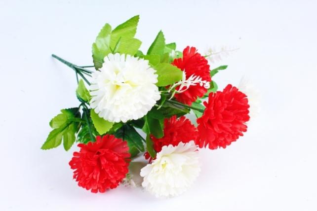 Искусственное растение - Гвоздика с папоротником красно-белая
