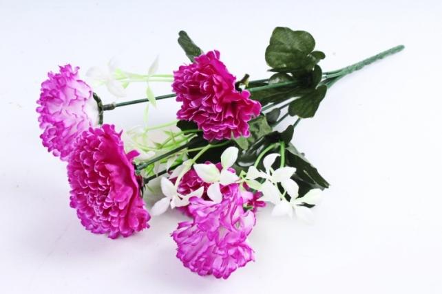 Искусственное растение - Гвоздика с папоротником пурпурная 40 см