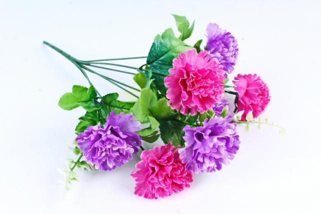 Искусственное растение - Гвоздика с папоротником сиренево-малиновая