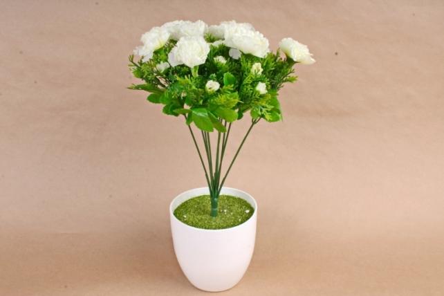 Искусственное растение - Гвоздики с туей белые