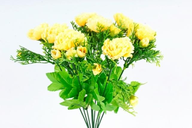 Искусственное растение - Гвоздики с туей  жёлтые